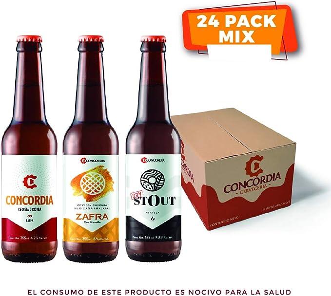 24 pack Cervezas Concordia mix 8 Concordia Lager Obscura 8 Concordia Dry Stout 8 Zafra