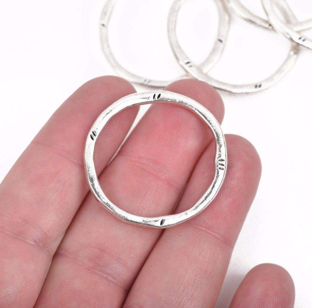 New 5 Silver Hammered Rings, Circle Washer Connector Links Charms, 32mm, chs2857
