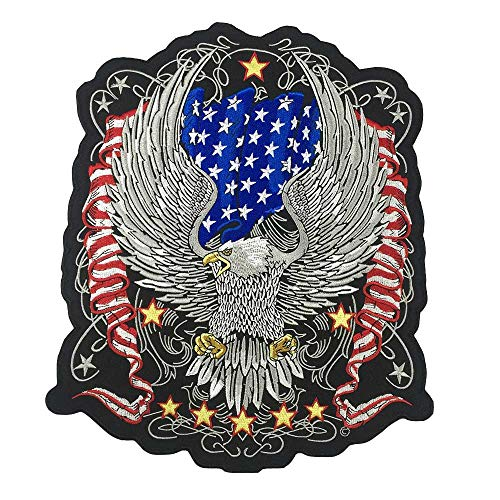 Large American Eagle Iron On Patch Embroidered Applique Sewing Label Punk Biker Patches Clothes Stickers Apparel Accessories Badge - Mens Eagle Applique
