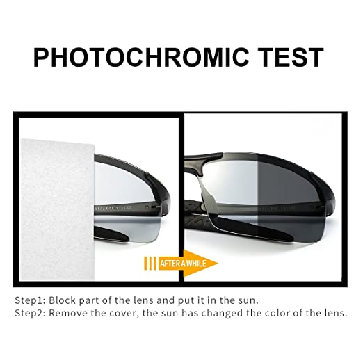 TJUTR Mens Photochromic Sunglasses with Polarized Lens for Outdoor 100% UV Protection, Anti Glare, Reduce Eye Fatigue