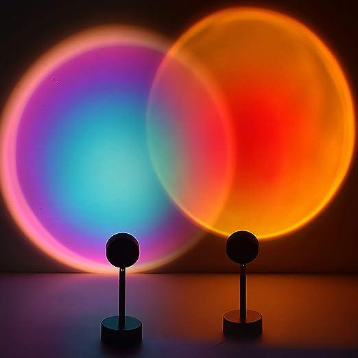ASLONG 2PCS Led Sunset Lamp Projection Rainbow Light USB Desk Lamp 90 Degree Rotation Night Lights for Romantic Gift Wedding Birthday Party Bedroom Decor(Sunset Red and Rainbow)