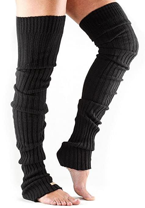 4ee536de1decc Amazon.com: ToeSox Women's Thigh High Ribbed Knit Warmers (Black ...