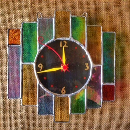 Art Deco Fusion fused glass wall clock