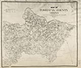 """Vintage 1864 Map of Map of Powhatan County, Virginia - Shows names of some residents. - Relief shown by hachures. - """"May 20 1864."""" - North oriented toward the upper left. - """"Map from the Confederate Engineer Bureau in Richmond, Va. General J.F. Gilmer Chief Engineer - Presented to - the Virginia Historical Powhatan County, United Sta..."""