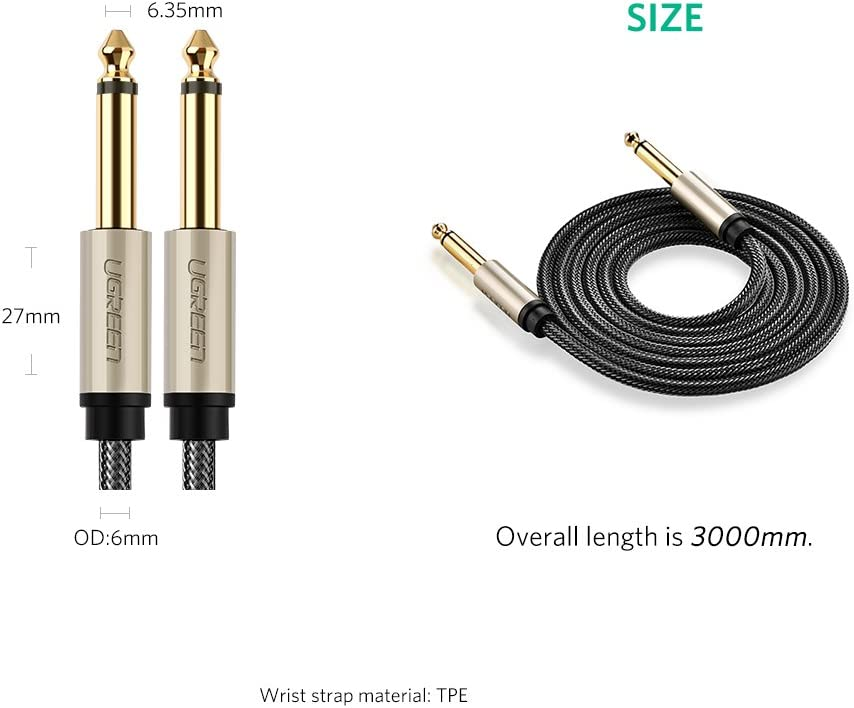 UGREEN 6.35mm Guitar Lead etc 3M Instrument Mono 6.35mm Cable for Electric Guitar Effects Pedal Bass Drums Amplifier 1//4 to 1//4 TS Professional Speaker Cable Nylon Braid with Zinc Alloy Case