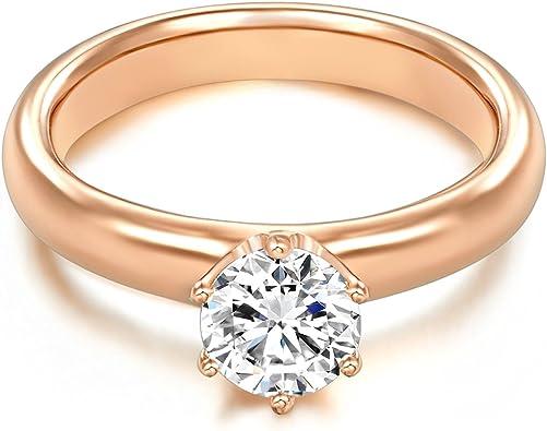 Tresor 1934 Bague femme Bague de fian/çailles Solitaire Argent Sterling 925//1000 dor/é or rose Oxyde de zirconium blanc 60451018