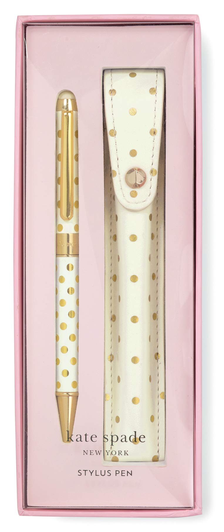 Kate Spade New York Black Ink Pen with Stylus Tip (Gold Dots)