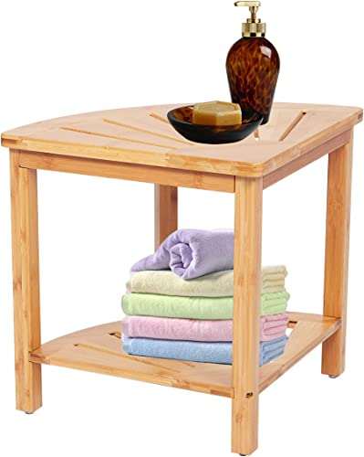 Kinbor Shower Bench Seat Wood Stool