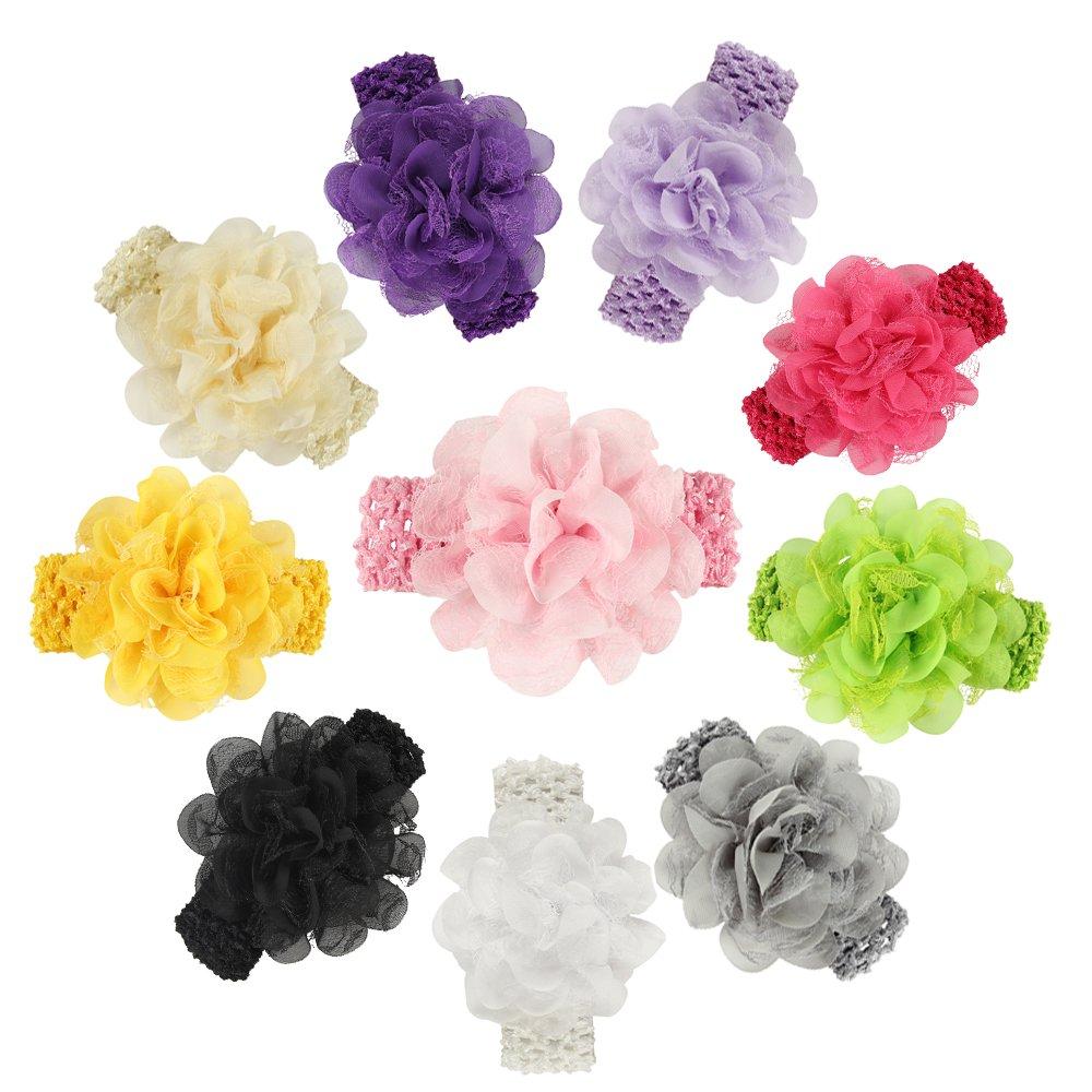 ROEWELL Baby's Headbands Girl's Hair Bows Newborn headband Hair Flower (10 pcs) by Roewell