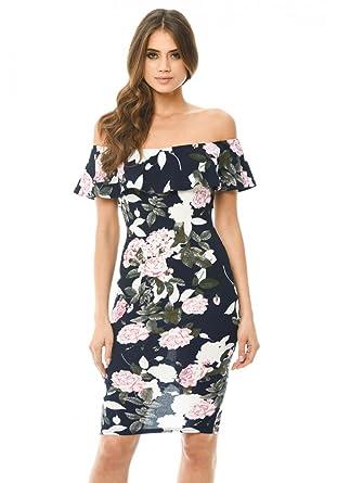 37f5064488 AX Paris Women s Printed Floral Bardot Midi Dress at Amazon Women s  Clothing store