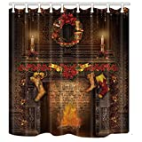 NYMB Christmas Decor, Fireplace with Long Socks for Gift Shower Curtains, Polyester Fabric Waterproof Bath Curtain, 69X70 in, Shower Curtain Hooks Included