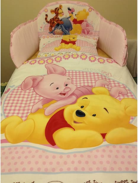 Cotbed - 140 x 70cm Disney Winnie the Pooh with Strawberries Bedding Set for Cot or Cotbed