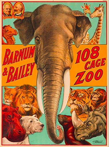 Ringling Brothers & Barnum & Bailey Circus 108 Cage Zoo Elephant The Greatest Show on Earth Vintage Circus Travel Home Collectible Wall Decor Advertisement Art Poster Print. Measures 10 x 13.5 inches