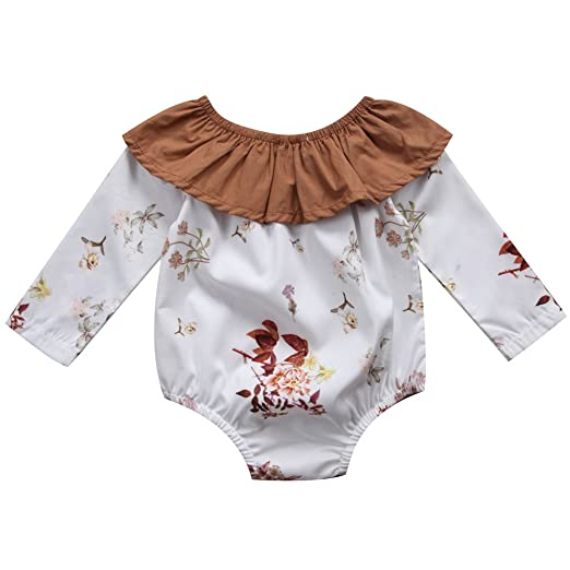 6ee5ec519 Emmababy Newborn Infant Girl Floral Long Sleeve Jumpsuit Romper Baby Winter Outfits  Clothes (6~