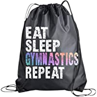 Gymnastics Drawstring Bag for Girls, Eat Sleep Softball Repeat, Gymnast Bag, Gymnastics Gift, Sport Pack Cinch Sack