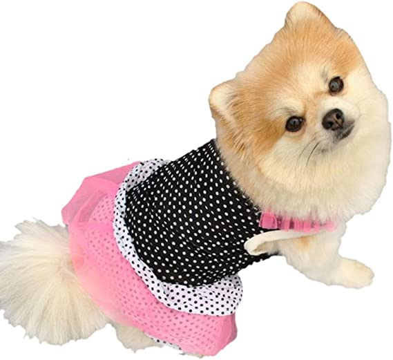 Howstar Summer Cute Pet Puppy Small Dog Cat Mommy Little Love Print Apparel Clothes Fly Sleeve Dress Hot Pink, L Pet Dress