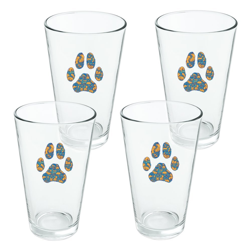 Pets Paw Print with Dog Cat Animal Details Novelty 16oz Pint Drinking Glass Tempered - Set of 4