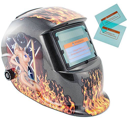 iMeshbean Pro Sexy Hot Cowgirl Solar Auto-Darkening Welding & Grinding Helmet + 2 pcs Extra Lens Covers ANSI Certified Model#1007 USA