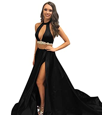 XJLY Halter Kehole 2 Piece Satin Prom Dress With Slit Cocktail Dresses