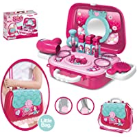 Gooyo Makeup Accessories Girl's Beauty Kit 2 in One Toy Pretend Role Play Set with A Suitcase for Kids