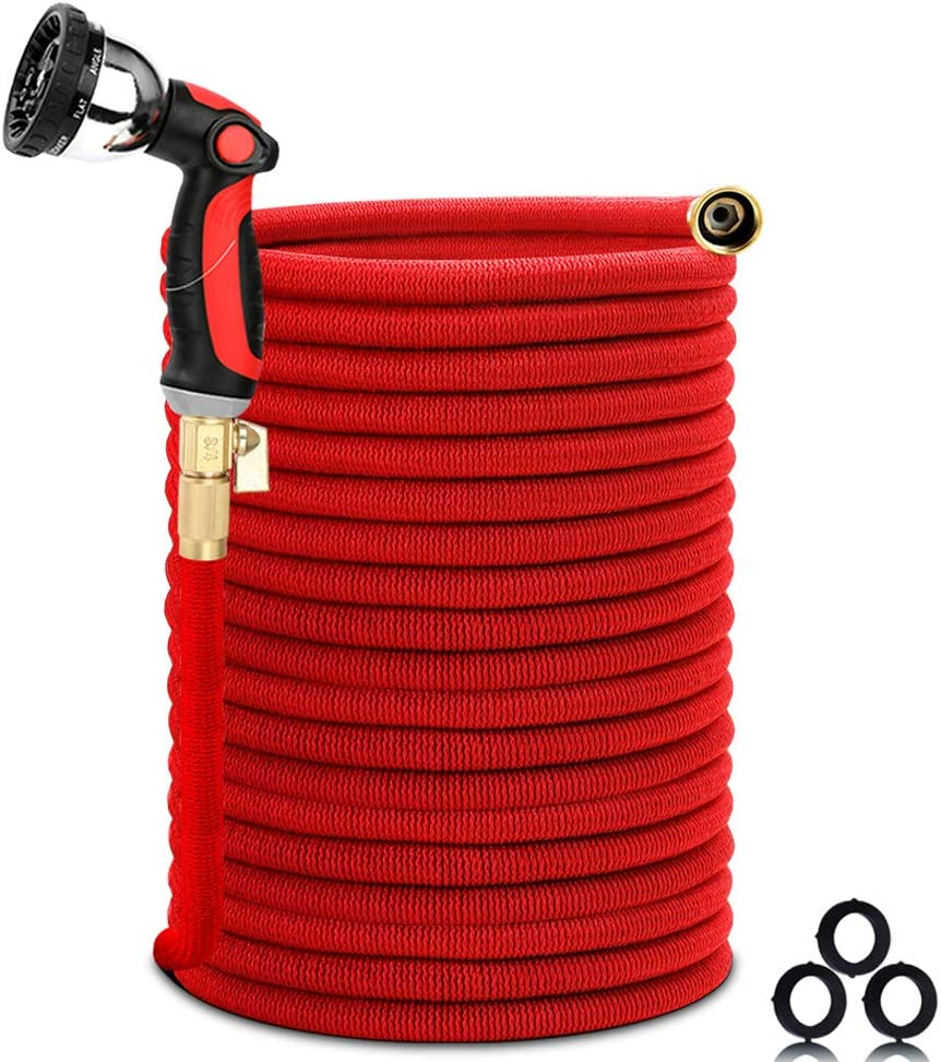 "Homes Garden Expandable Garden Hose 150 FT, Flexible & Durable, Lightweight, No Leaking, No Kink, 10 Function Spray Nozzle, 3/4"" Solid Brass Connectors, Extra Strength Fabric, ON/OFF Valve #G-W026A04"