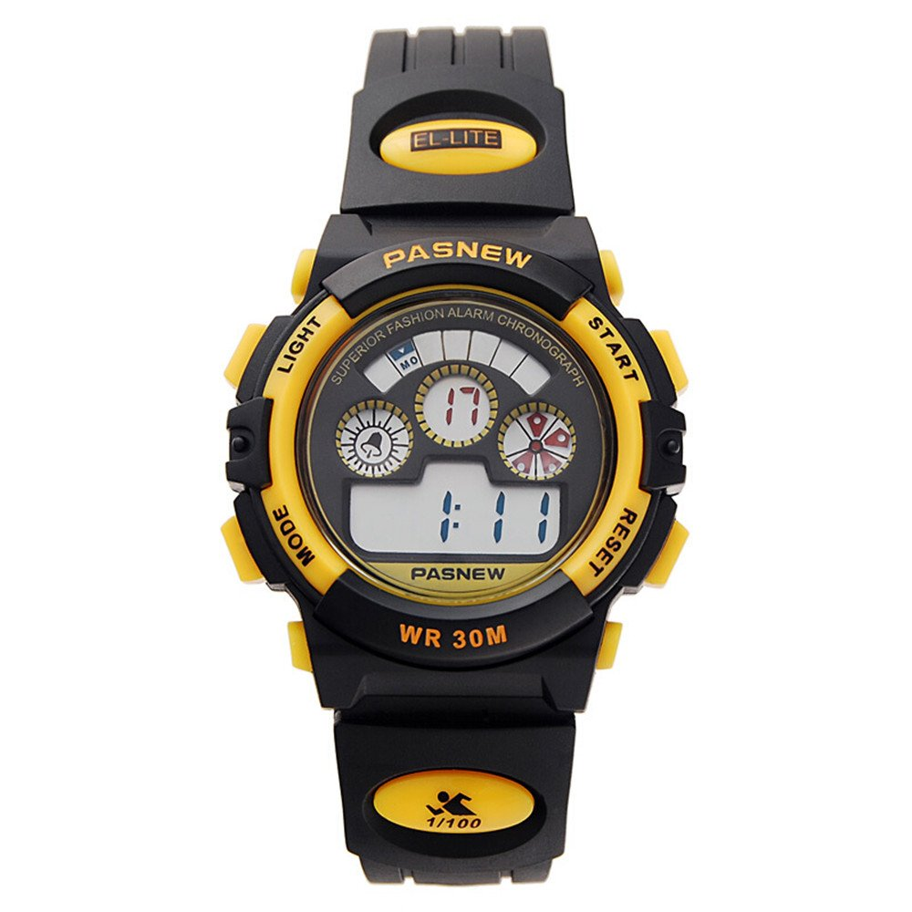 Pasnew Electronic Outdoor Sports Male and Female Students Running Children Waterproof Watch (Ten Styles Optional)(Small Yellow) by PASNEW