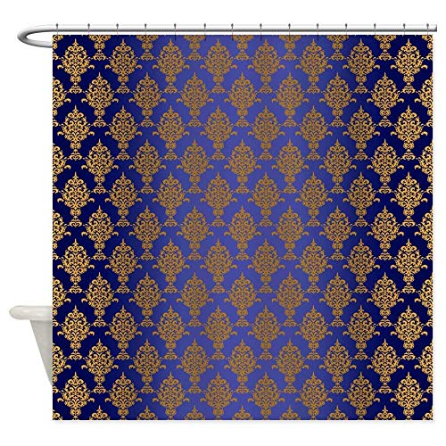 ghknjjkg Damask Gold On Royal Blue - Decorative Fabric Shower Curtain (60