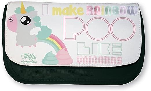 Estuche de maquillaje negro o escuela Fluffy Chamalow: unicornio chibi o