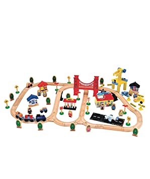 Early Learning Centre - Wooden City Train Set: Amazon.co.uk: Toys ...