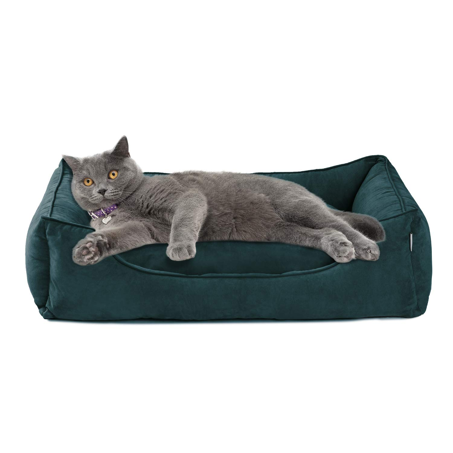 Love's cabin Large Dog Bed with Removable Washable Cover, 42in XXXL Green Cuddler Pet Bed for Small Dogs & Cats Pet Bedding, Padded Cushion Water-Resistant Bottom, Super Soft & Durable Pet Supplies by Love's cabin