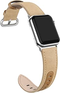 SWEES Leather Band Compatible for iWatch 38mm 40mm Women, Suede Genuine Leather Bands Dressy Elegant Replacement Strap Compatible with iWatch Series 5, 4, 3, 2, 1, Sports Edition, Apricot