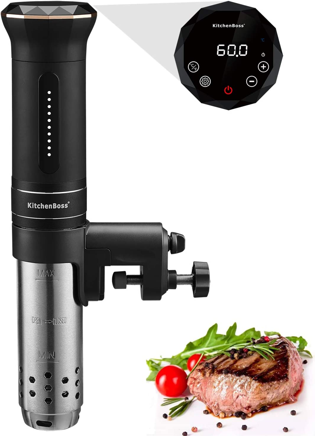 Sous Vide Cooker,1100 Watt IPX7 Waterproof,Sous Vide Machine, with Accurate Temperature Control Digital Display, Includes 10pcs Vacuum Sealer Bags,by KitchenBoss