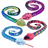 "Bottles N Bags 67"" Sequin Snake Large Stuffed Animal Toy 1 Pack (Random Color)"