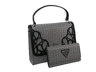 8a19adb956fa New Guess Logo Purse Satchel Crossbody Hand Bag   Wallet 2 Piece Set Black  Gray