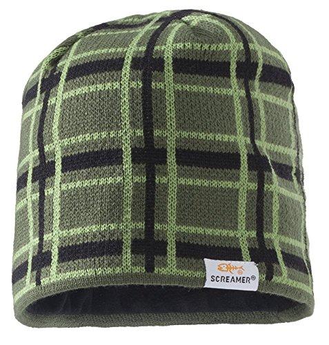 Hat Windowpane Cap (Screamer Men's Carter Knit Cap, Khaki/Moss/Black, One Size)