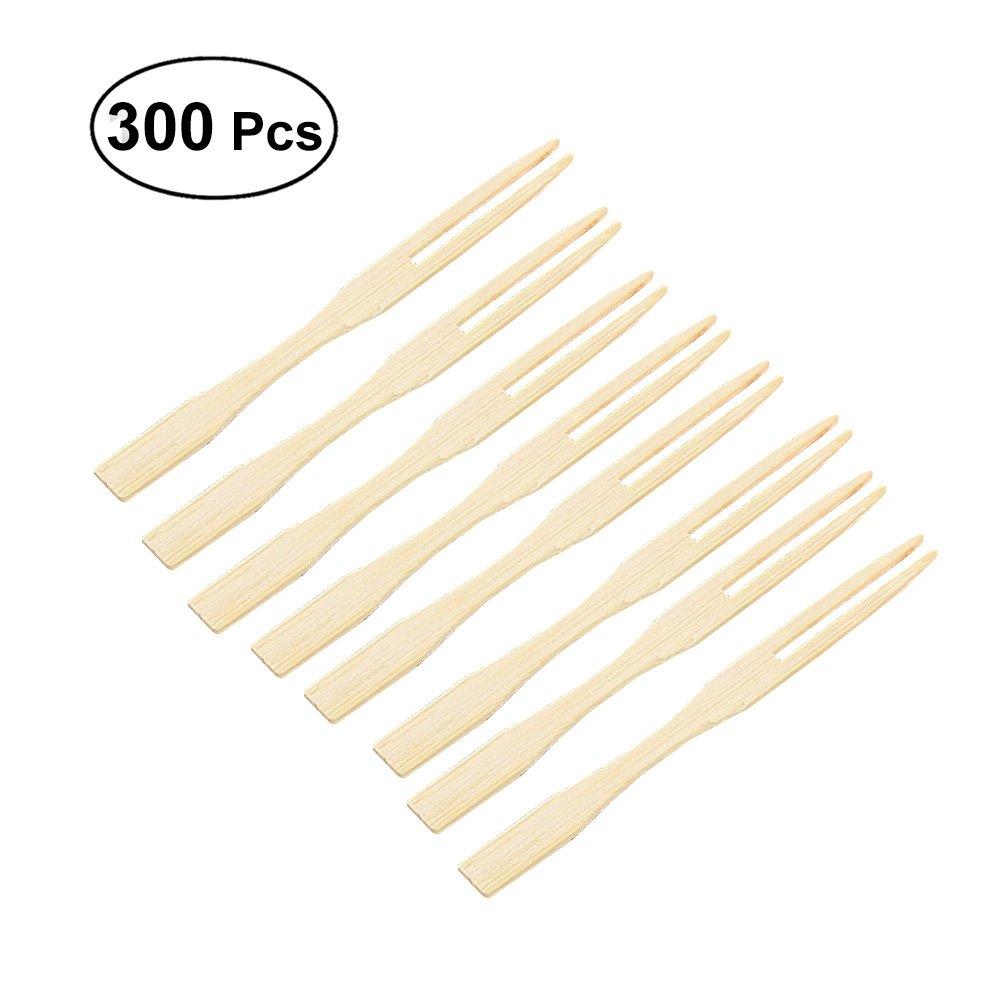 OUNONA 300 pcs jetables aliments en bambou pics fruits ap/éritif cocktail fourchette /à desserts pics b/âtons articles de f/ête