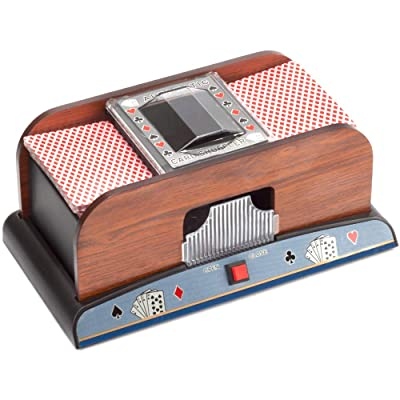 Casino Automatic Card Shuffler for Poker Games(2 Deck, 4 Deck, 6 Deck) (Wooden - 2 Deck) : Sports & Outdoors