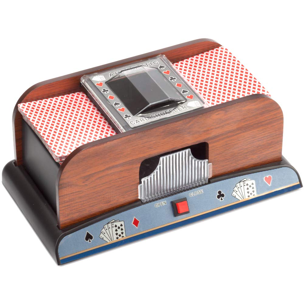 Casino Automatic Card Shuffler for Poker Games(2 Deck, 4 Deck, 6 Deck) (Wooden - 2 Deck) by GSE Games & Sports Expert