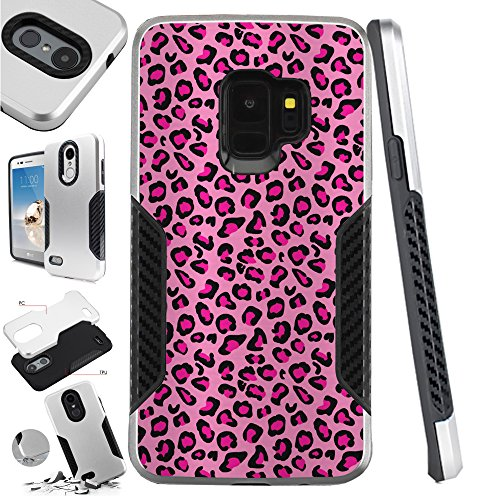 For Samsung Galaxy S9 | Samsung Galaxy S 9 Case Hybrid TPU Carbon Slim Guard Phone Cover (Pink Leopard Skin)
