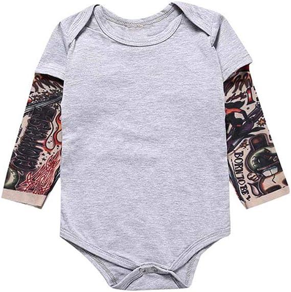 Toddler Baby Girls Rompers Sleeveless Cotton Onesie,Animal Tattoos Bodysuit Autumn Pajamas
