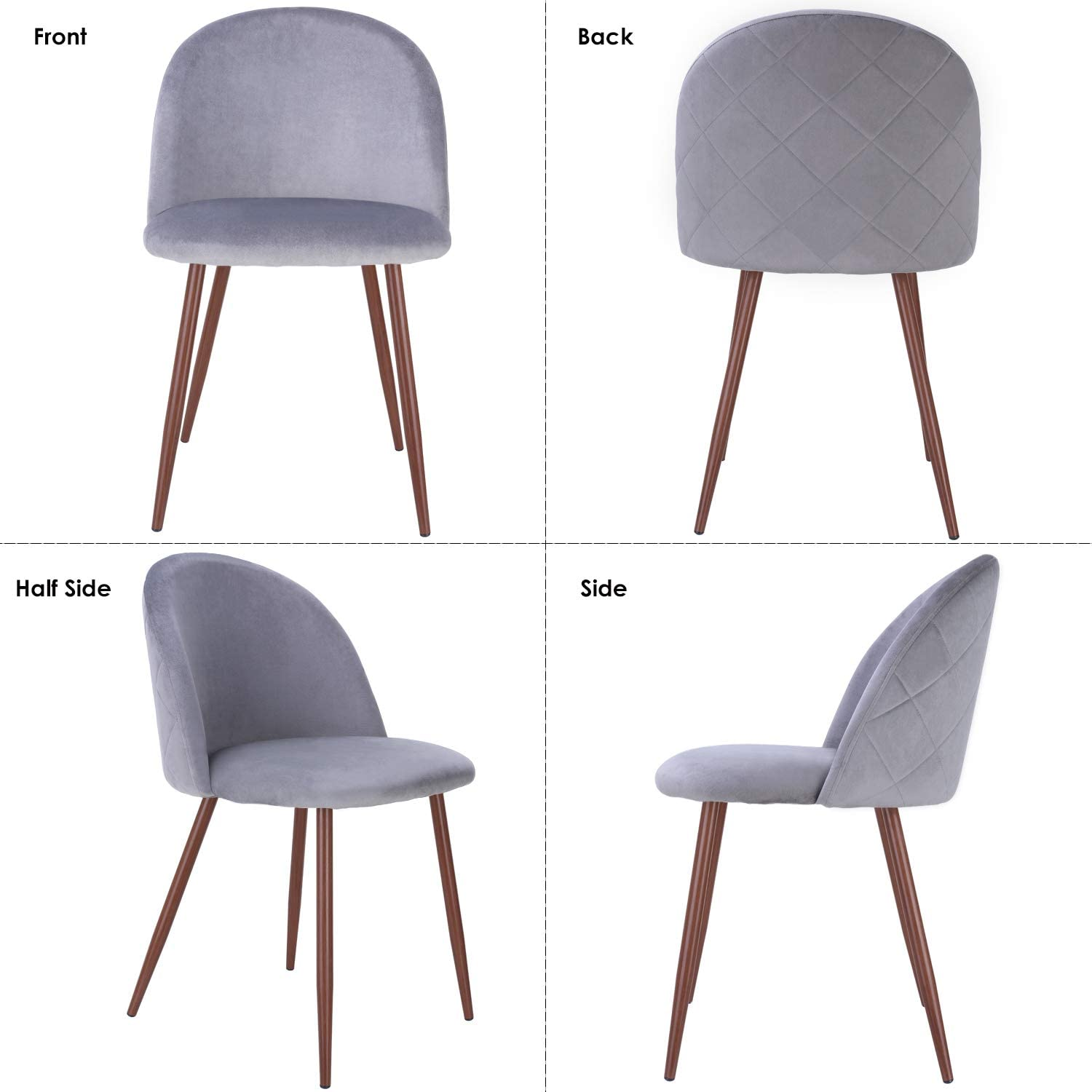 Velvet Upholstered Side Chair HOMECHO Dining Chairs Set of 2 Gray Modern Accent/Leisure/Chairs/with/Metal/Legs for/Kitchen//Living//Dining Room