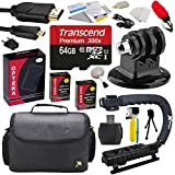 Extreme Kit for GoPro HD Hero3 Hero3+ with 64GB MicroSDHC Memory Card - x2 AHDBT-301 - Charger - HDMI Cable - Tripod Adapter - Stabilizing Grip - Case - Floating Handle - Cleaning Kit and Bonus Tripod