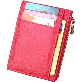 DcSpring RFID Cartera Tarjeteros Slim Cuero Genuino Monedero Pequeñas Portatarjetas Mini Cremallera para Mujer Hombre (
