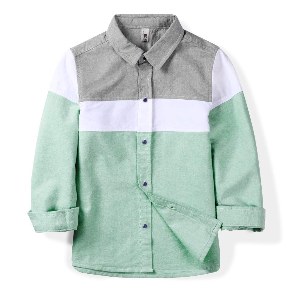 OCHENTA Boys' Long Sleeve Button Down Color Block Oxford Shirt, Little Big Kids Casual Dress Tops Green Tag 110CM - 4T