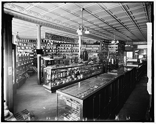 Vintography 16 x 20 Ready to Hang Canvas Wrap Store Interior with Garland Agency stoves and ranges Display Possibly Detroit Michigan 1900 Detriot Publishing 60a