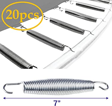 20pc 7 Inch Trampoline Springs Heavy-Duty Galvanized Steel Replacement Set Kit