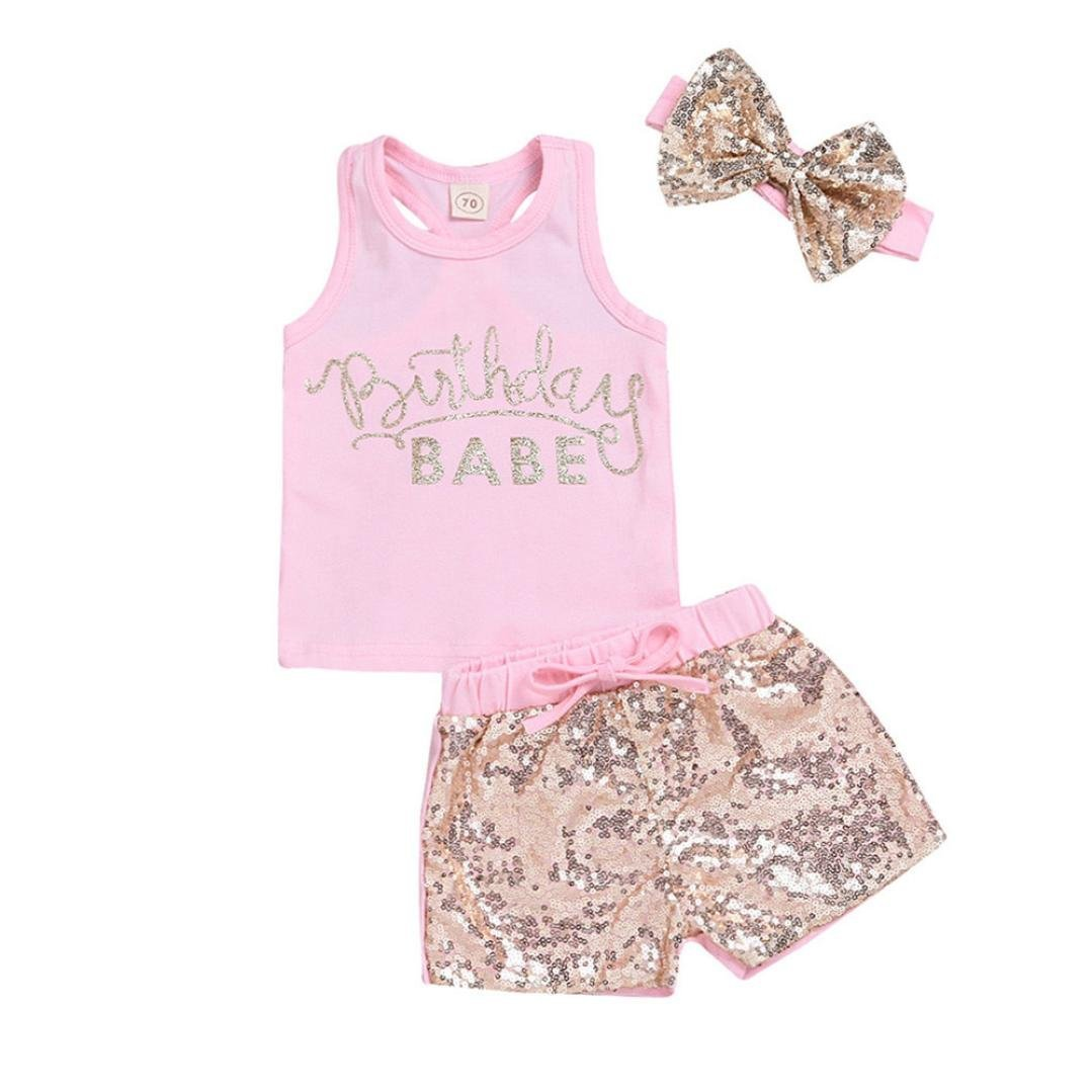 0-24 Months Infant Baby Girls Summer Sleeveless O-Neck Vest Tops T-Shirt With Headband +Sequin Shorts Set Outfits (Pink, 0-6 Months) by Aritone - Baby Clothes
