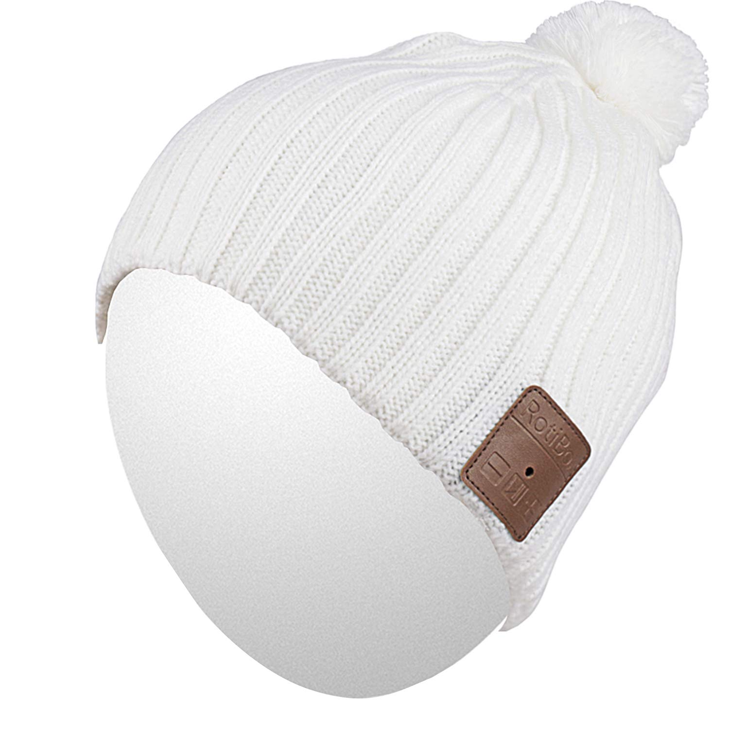 Qshell Unisex Adult Bluetooth Beanie Hat Trendy Soft Warm Short Audio Music Cap with Wireless Headphone Headset Speaker Mic Hands-Free, for Winter Outdoor Sport Skiing Snowboard - White