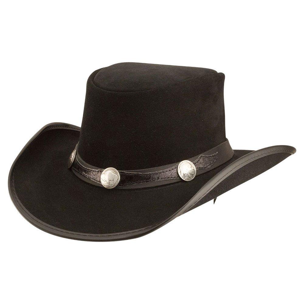 American Hat Makers plainsman-Blazer Band by Double G Hats Cowboy Leather Hat, Black - Medium