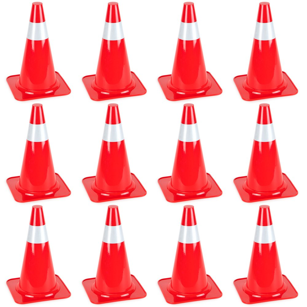 15'' High Hat Cones in Fluorescent Orange with Reflective Sleeve for Indoor/Outdoor Traffic Work Area Safety Marker & Agility Sport Training by Bolthead Industrial (12-Pack) by Bolthead Industrial